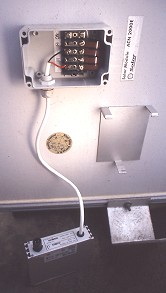backside of ACN2000E 93 Wp AC-module with opened junction box and OK4E 100 Watt inverter removed from metal frame